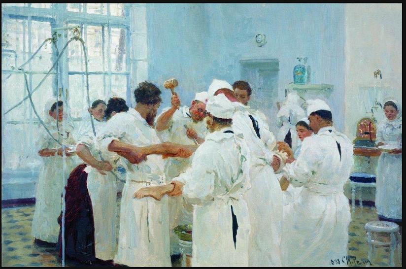 De chirurg J.V. Pavlov in het operatietheater. Ilja Repin, 1888.